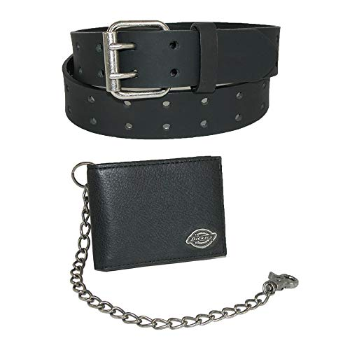 Dickies Men's Leather Chain Wallet and Two Hole Bridle Belt, 34, Black Wallet with Black Belt
