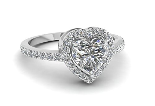 Valentine Love Heart Round Shaped Diamond 14k White Gold Women Engagement Wedding Ring,All US Size available,message us your Ring Size