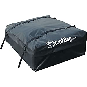 Rooftop Cargo Carrier - Made in USA by RoofBag - Waterproof Roof Top Bag (Works on ALL Cars - No Rack Needed) - Includes Heavy Duty Straps
