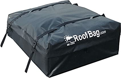 RoofBag Waterproof | Made in USA | 1 Year Warranty | Fits All Cars: with Side Rails, Cross Bars or No Rack | Rooftop Cargo Carrier Includes Heavy Duty Straps PK Industries Inc EX-15-BK-RACK-amz