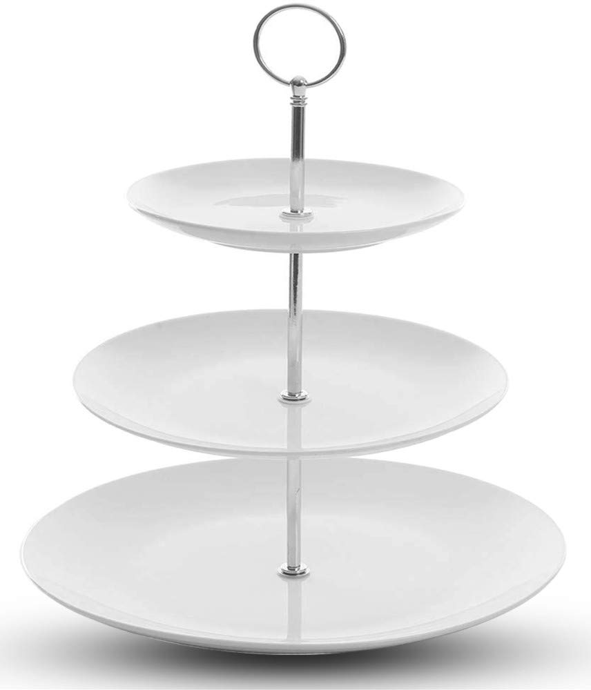 3 Tier Serving Tray Stand//Cupcake Cake Dessert Pastry Stand//White Ceramic Round Platter for Tea Party Wedding Baby Shower Buffet Server(Big Size 11in,9in,7in)