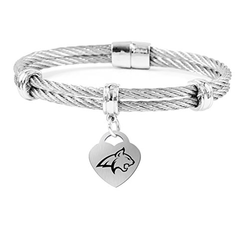 (College Jewelry Montana State University Bobcats Charm Bracelet | Stainless Steel Magnetic Clasp Bangle)