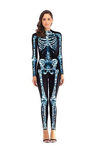 URVIP Women Halloween Skeleton Costumes Cosplay Stretch Skinny Jumpsuit Bodysuit B108-007 -