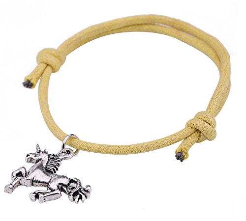 fishhook Trendy Sheep Unicorn Pendant Adjustable Wax Cord Bracelet for Animal Lovers (Yellow Wax Cord Bracelet)