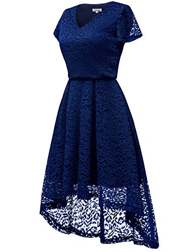 Swing Dress Neck Flare V Floral Women's Cocktail Bbonlinedress Hi Lace Navy Lo Sleeve Party pgx1F