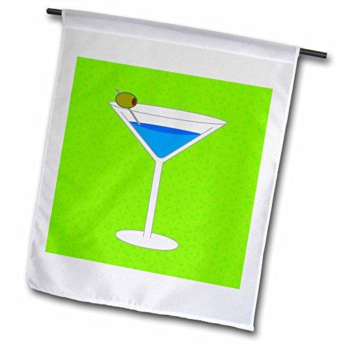 (3dRose Janna Salak Designs Food Drink - Bright Blue Martini in Glass Olive - Green Background - 18 x 27 inch Garden Flag)