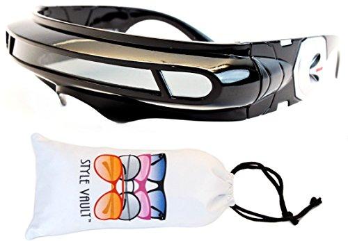 Kd245-vp Kids (3-9yrs) Futuristic Plastic Sunglasses (B2974F Black-Dark, UV400) ()