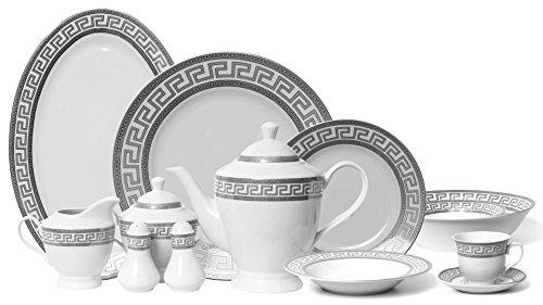 Greek Key Salad Plate - Euro Porcelain 57-pc Banquet Dinnerware Set for 8, Luxury Bone China Tableware