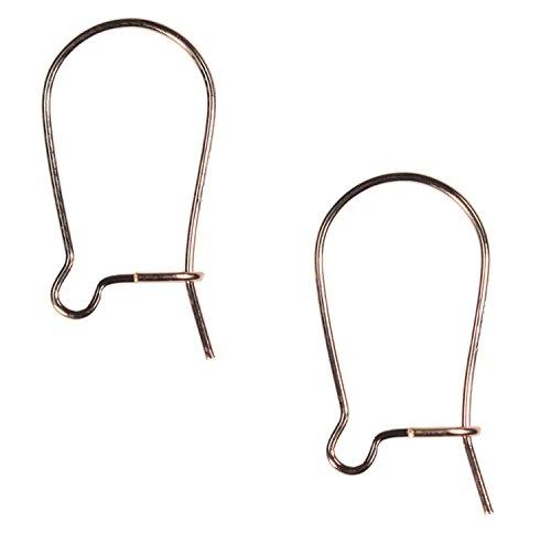 uGems 14k Rose Gold-Filled Kidney Hook Ear Wires 16mm (14k Kidney Wire)
