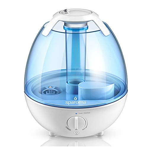 Cool Mist Humidifier - 1 Gallon Ultrasonic Air Humidifier, Quiet Humidifier with Adjustable Mist Levels, 6 Color Optional Night Light Perfect for Baby and Kids, Ideal for 350-450sqf Room and Office by Sparoma