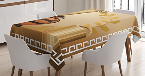 Ambesonne Toga Party Tablecloth, Antique Greek Columns Vase Olive Branch Hellenic Heritage Icons, Dining Room Kitchen Rectangular Table Cover, 52 W X 70 L Inches, Brown -