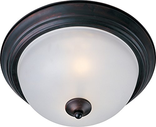 Maxim 5841FTOI Essentials 2-Light Flush Mount, Oil Rubbed Bronze Finish, Frosted Glass, MB Incandescent Incandescent Bulb , 60W Max., Dry Safety Rating, Standard Dimmable, Glass Shade Material, Rated Lumens