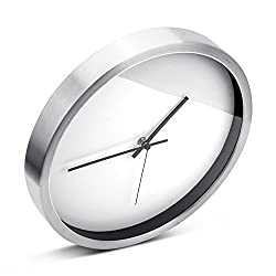 Egundo DIY Silent Non-Ticking Wall Clock 12 Inches Metal Frame Hands Paper Dial Sweep Movement Simple Modern Bedroom Kitchen Clocks Battery Operate White