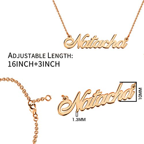 cd8e1df8a25d8 HACOOL 925 Sterling Silver Personalized Name Necklace Customized with Name  Pendant Chain (Rose Gold Plated Silver)