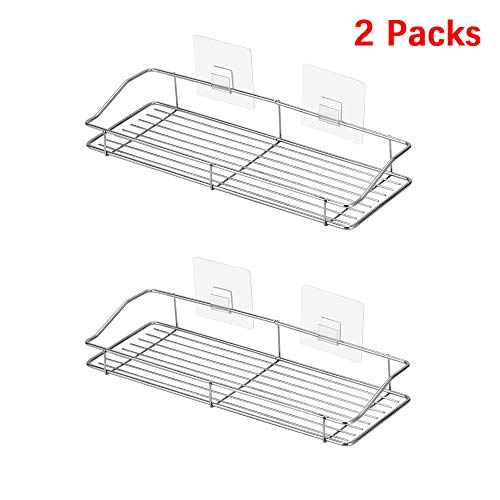SACHUKOT-14 inches No Drilling Strong Adhesive Shower Caddy Bath Shelf Storage Organizer for Bathroom/Kitchen Rustproof 304 Stainless Steel (2 Packs)
