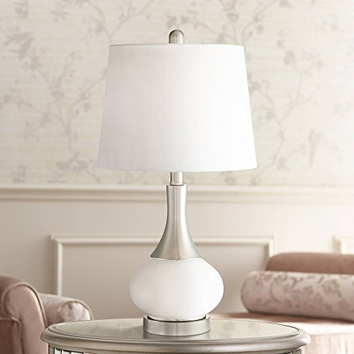 - Serrena Modern Accent Table Lamp with Nightlight White Glass Brushed Steel Drum Shade for Living Room Family Bedroom - 360 Lighting