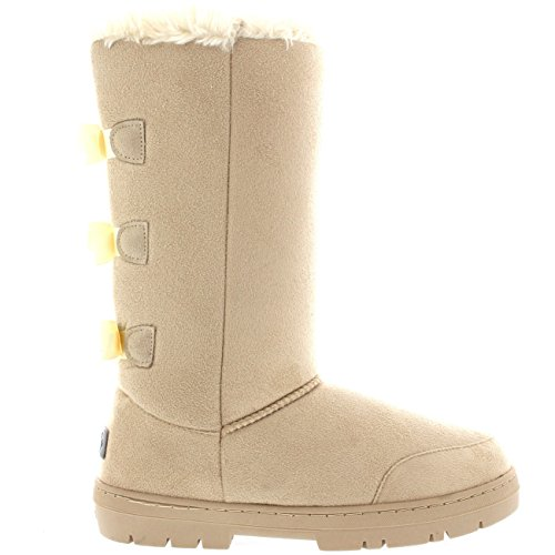 Mujer-Triplet-Bow-Tall-Classic-Fur-Impermeable-Invierno-Rain-Nieve-Botas