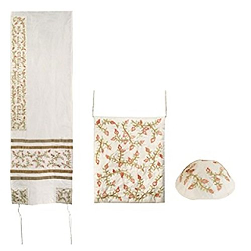 Raw Silk Tallit Set Embroidered Pomegranates in White with (Silk Tallit Set)