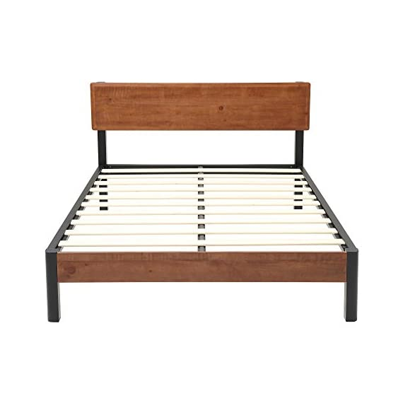 """Classic Brands DeCoro Portland Wood Slat and Metal Platform Bed Frame with Solid Wood Headboard 
