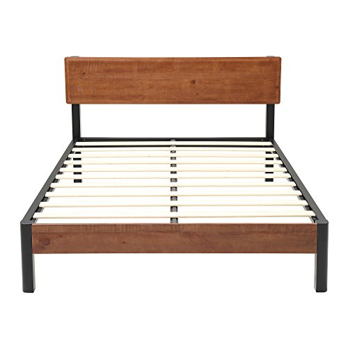 Classic Brands DeCoro Portland Wood Slat and Metal Platform Bed Frame with Solid Wood Headboard | Mattress Foundation, King