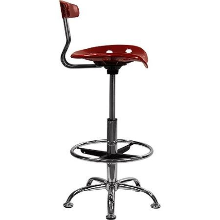 Adjustable Height Drafting Stool with Tractor Seat, Multiple Colors Wine Red