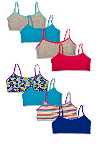 Hane's Girl's Crop Top Bralette Cotton Spandex Training Bra - Pack of 8 (Small 4-6, Pack of 8 - Assorted Solids & Prints)