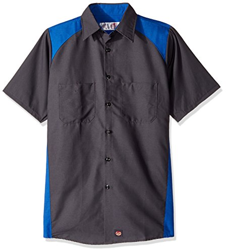 Red Kap Men's Motorsports Shirt, Short Sleeve, Charcoal/Royal Blue, Large (Mens Work Uniforms)