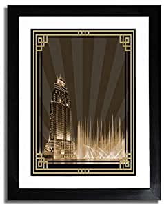 Address Hotel Down Town- Sepia With Gold Border No Text F07-m (a5) - Framed