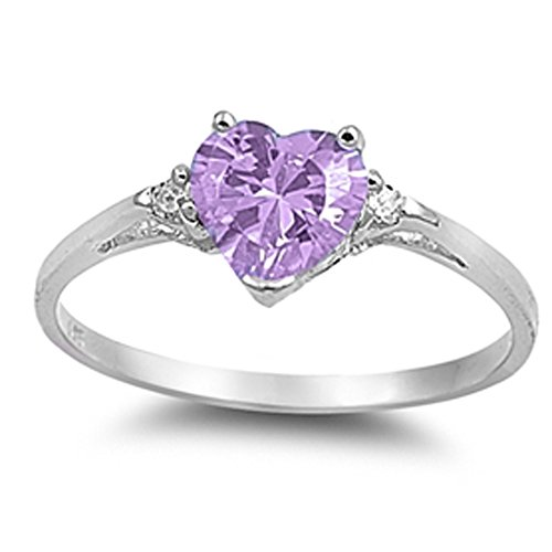 Oxford Diamond Co Heart Lavender & Clear Stone .925 Sterling Silver Ring Sizes 3-12 -