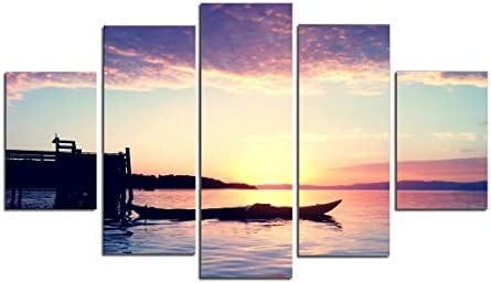 PulsatingFingertip-5 Panel Unframed Sunset Boat Landscape Oil Painting Pictures Sea Clouds Beach Wall Picture Cuadros Wall Art Canvas Prints no Frame
