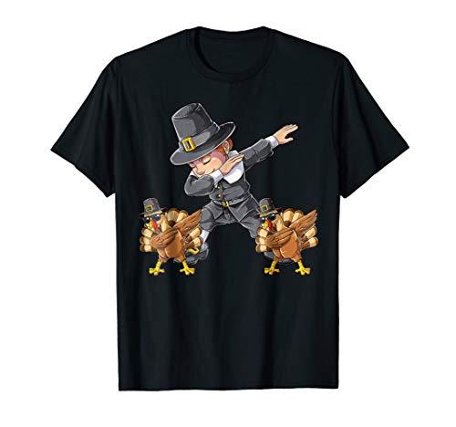Thanksgiving shirts for Boys Dabbing Pilgrim Kids Turkey Dab