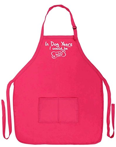 ThisWear Funny 60th Birthday Gift in Dog Years I Would Be 420 Funny Apron Kitchen BBQ Barbecue Cooking Baking Crafting Gardening Two Pocket Apron Women Men Heliconia