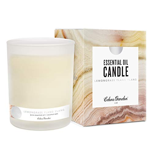 Edens Garden Lemongrass Ylang Ylang Coconut Wax Candle, All Natural & Made With Essential Oils (Hand-Poured in USA, Non-Toxic, Paraffin-Free, Luxury Gift Box) 40 Hour Burn, 6 oz