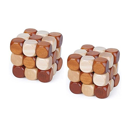 KampFit Wooden Snake Cube Brain Teaser Puzzle Toy Intelligence Game for Kids and Adults, 2 Pack