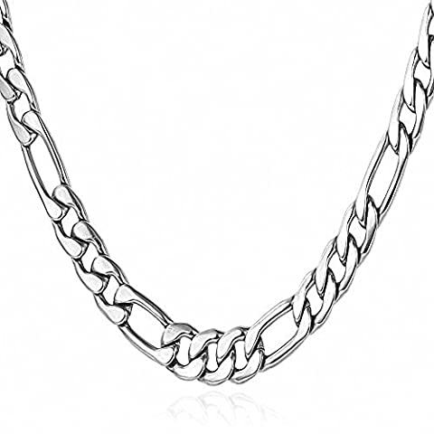 Silver Tone 5MM Wide Mens Womens Stainless Steel Necklace Cuban Curb Figaro Chain Link - Flat Curb Link Chain