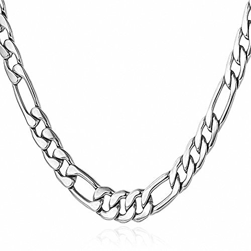 Silver Tone 5MM Wide Mens Womens Stainless Steel Necklace Cuban Curb Figaro Chain Link 18''~30''(20) (Silver Tone Link Chain)