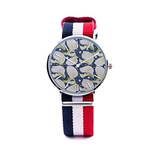 Unisex Fashion Watch Calla White Floral Hand Drawn Romatic Print Dial Quartz Stainless Steel Wrist Watch with Nylon NATO Strap Watchband for Women/Men 36mm&40mm Casual Watch (White Calla Blossom)