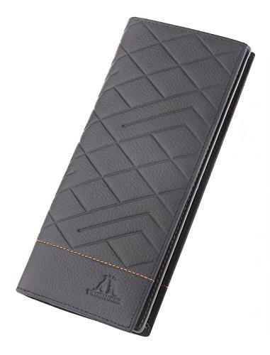 5 Color Men's Genuine Leather Long Wallets, Checkbook ID/Credit Card Holder Bifold Wallet