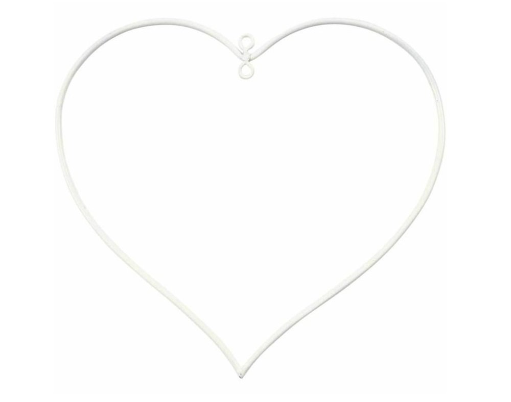 10 White Heart Metal Wire Rings for Bauble Crafts - 13cm Crafty Capers