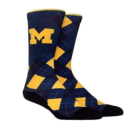 - NCAA Super Premium College Fan Socks (L/XL, Michigan Wolverines - Argyle)
