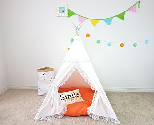 (Kids Teepee white One Layer Frills Princess Girls Tipi with Poles Lace Frills Large Playhouse Play Photo prop Indoor Tent Small Canvas Teepee)