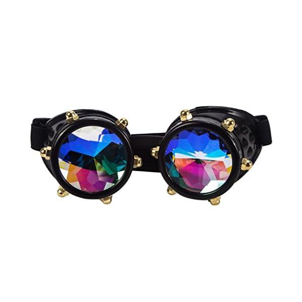 Careonline Festivals Kaleidoscope Gloth Vintage Rainbow Prism Sunglasses Steampunk Goggles Adjustable Bands 6