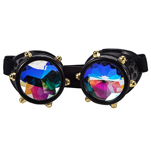 Careonline Festivals Kaleidoscope Gloth Vintage Rainbow Prism Sunglasses Steampunk Goggles Adjustable - Sunglasses Vintage Goggle