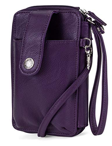 Mundi Jacqui Vegan Leather RFID Womens Crossbody Cell Phone Purse Holder Wallet ((Purple))
