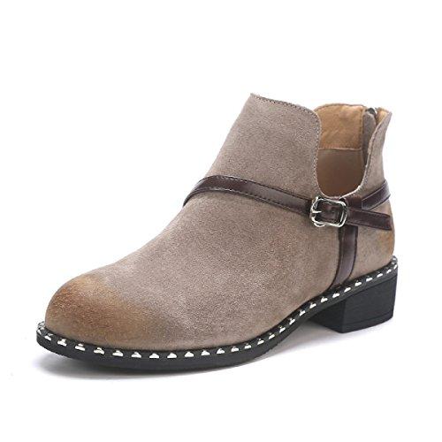 Pelle Retro Khaki E Donne Autunno Moda Inverno Stivali Stivali Stivali Nuovi Nudo Stivali Martin nqYCntOAw