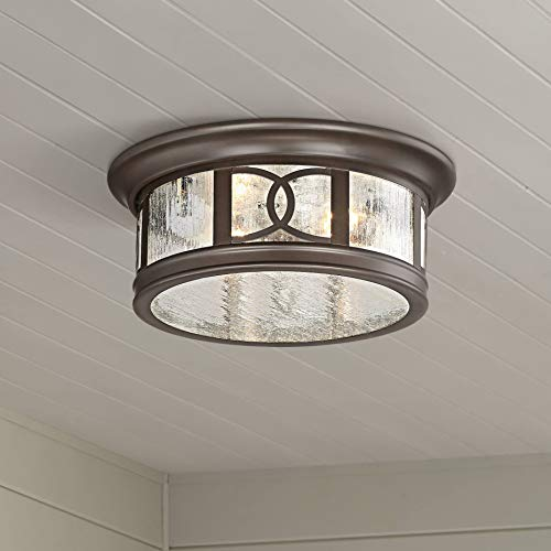 Capistrano Modern Outdoor Ceiling Light Fixture Mission Oil Rubbed Bronze Drum 12