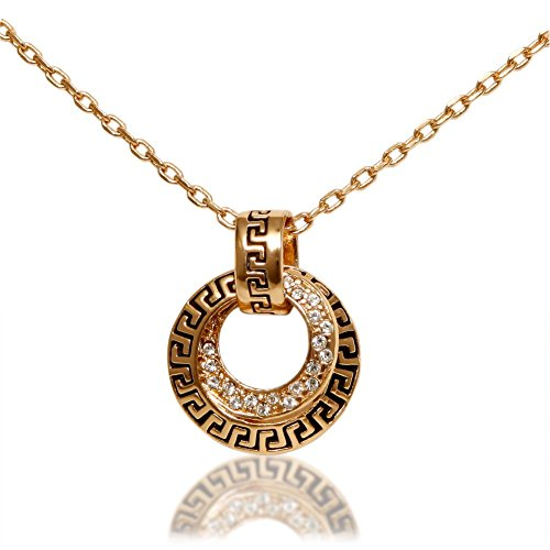 Women's 18k Gold Plated Necklace with Double Circle Pave European Crystal - Store Discount Coach