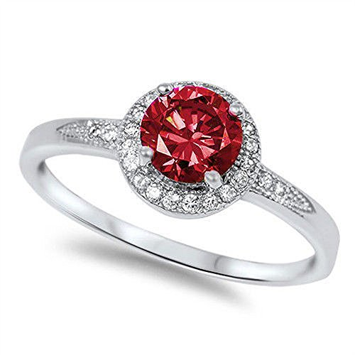 Ruby Oxford (Sterling Silver Halo Simulated Ruby & Cz Fashion .925 Ring Size 6)