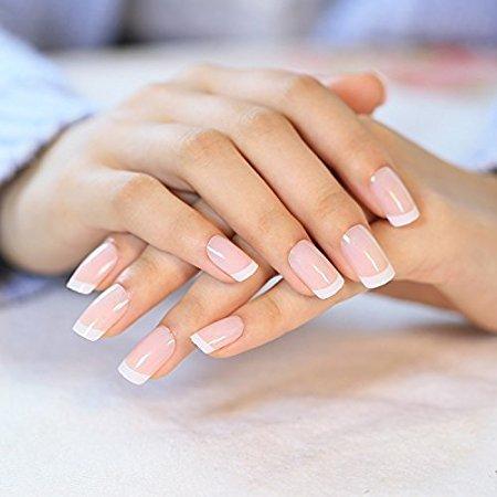 Daluci 24 Pcsset French Nails Nail Art Pre Design Acrylic Fake Nail