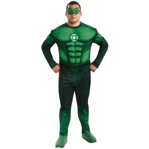 Green Lantern Deluxe Full Figure Hal Jordan Costume With Muscle Chest, Green, One Size -